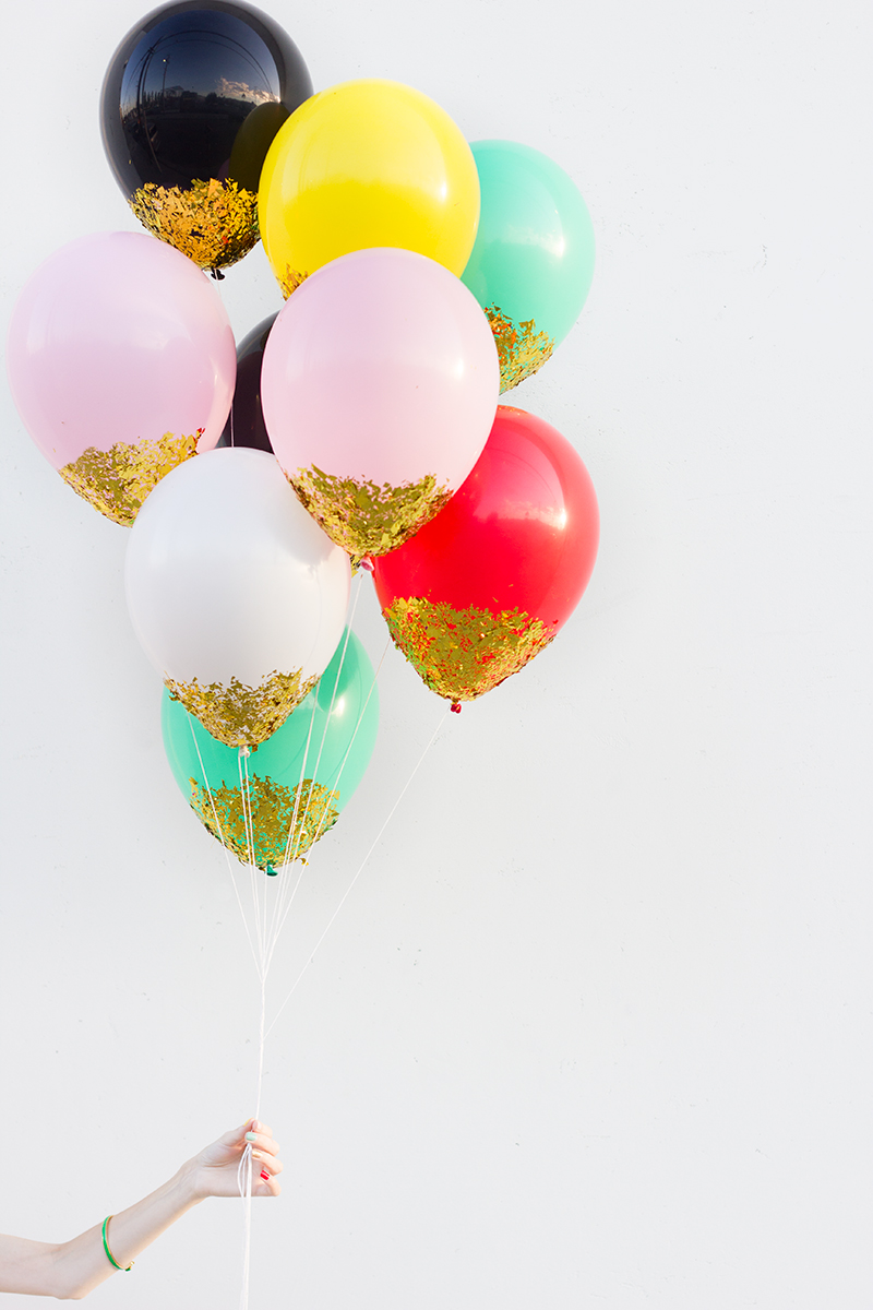 Number fifteen diy confetti dipped balloons for Diy balloon projects