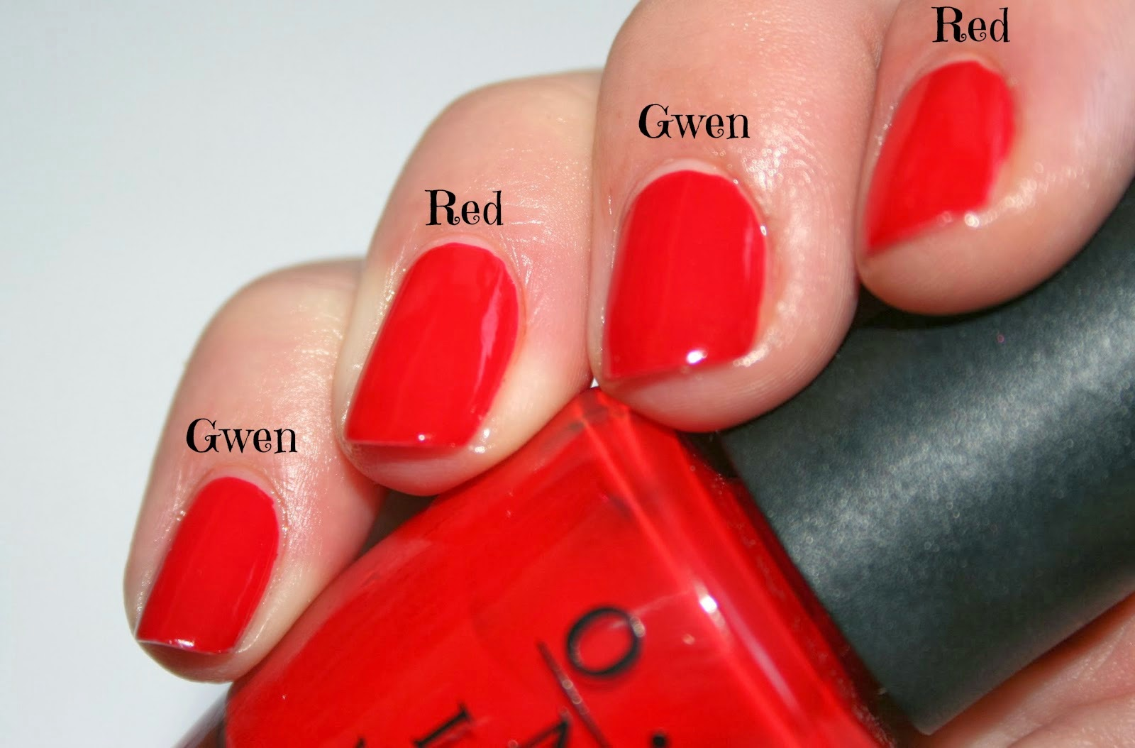 OPI Gwen VS Big Apple Red