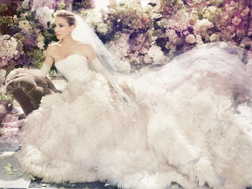 Carrie Bradshaw vestida de novia por Vera Wang