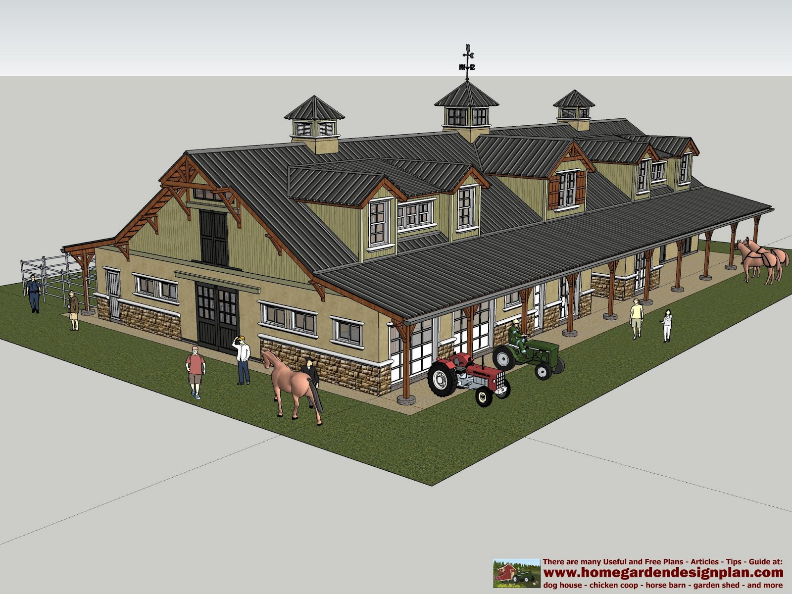Home garden plans horse barns for Horse stable design plans