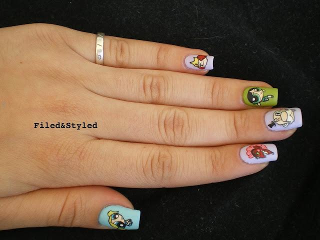 powerpuff girls nails