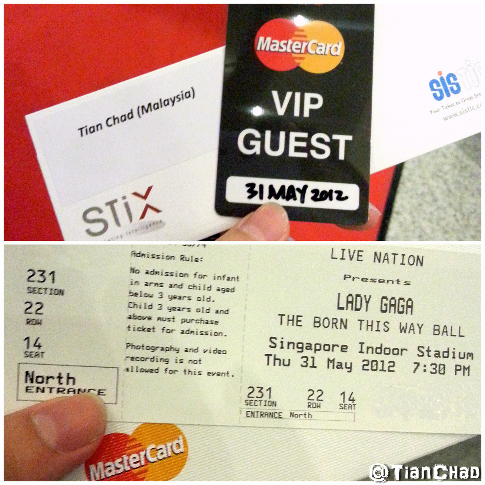 Priceless mastercard vip trip to singapore for lady gaga and great personalized lady gaga concert ticket holder with a vip guest tag m4hsunfo