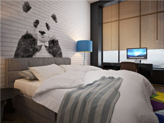 Bedroom with panda on the wall