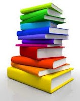 Illustration of a stack of books of different colors.
