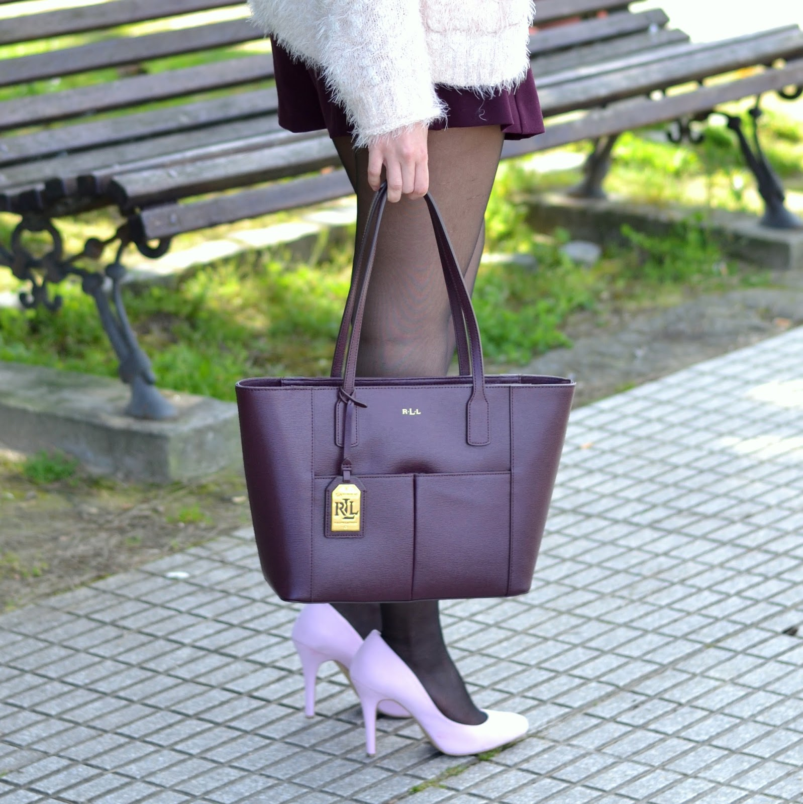 ralph lauren purple bag street style