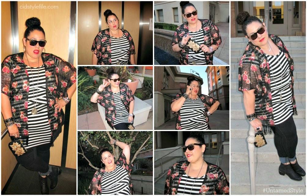 betsey johnson, wet seal plus, fringe kimono, g stage dress, black skinny jeans, cid style file, latina style blogger,