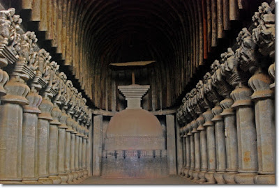 Picture of Chaityas or prayer halls inside Karla Caves in Lonavala, India