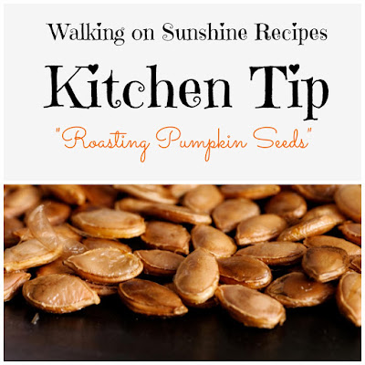The perfect way to use the seeds after you carve the pumpkin...roasting instructions by Walking on Sunshine Recipes.