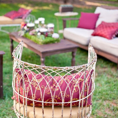 Pink and gold theme outdoor reception lounge area
