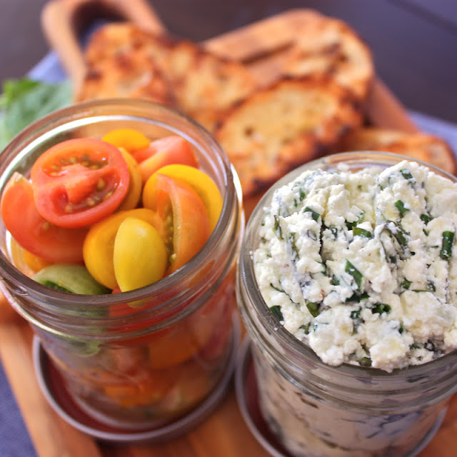 Herbed Ricotta and Heirloom Tomato Crostini - Get Off Your Tush and ...