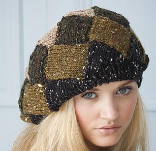 entrelac tweed beret knitting patterns