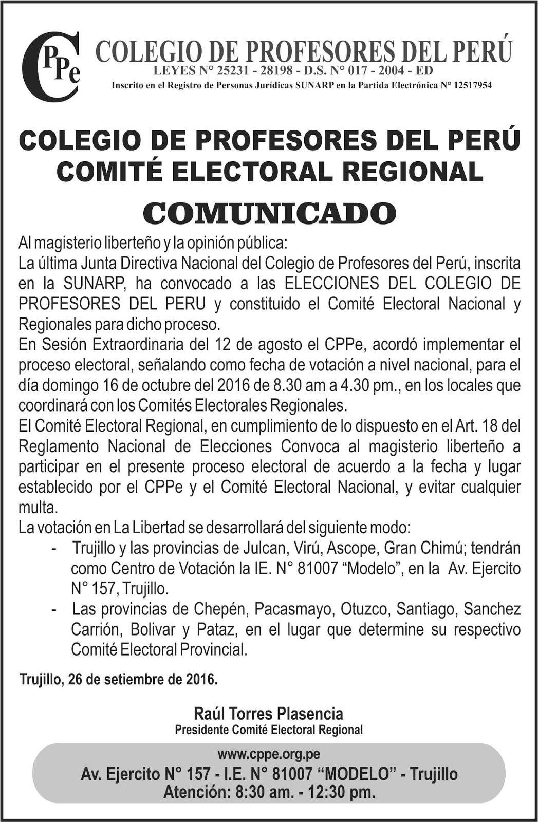 Las luchas del pueblo comit electoral regional la for Convocatoria profesores 2016