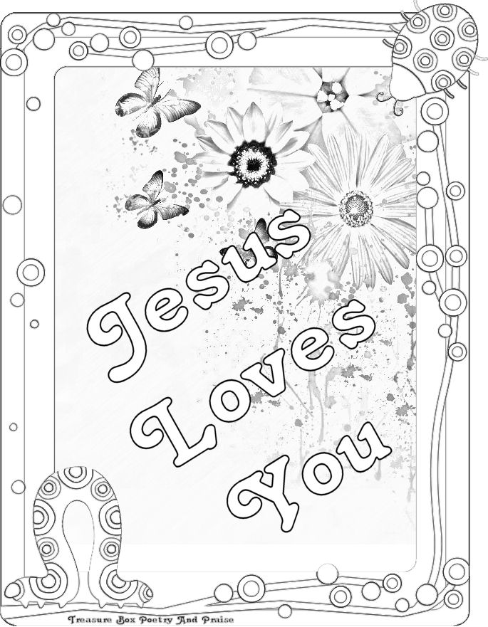 Childrens Gems In My Treasure Box Jesus Loves You  Coloring Sheet