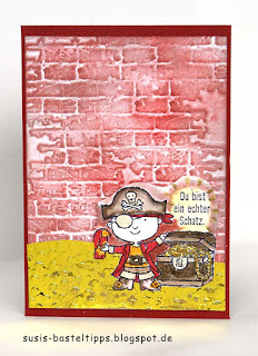 Stempelset ein echter Schatz als Glückwunschkarte von Stampin Up, Pirat auf Goldschatz