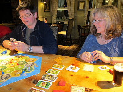 Settlers of Catan - Two of our players, Robin and Gwen