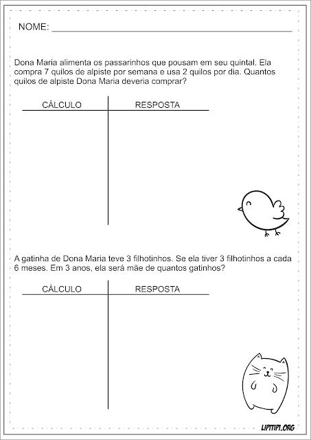 Multiplicação Contas Armadas Animais Matemática Fundamental