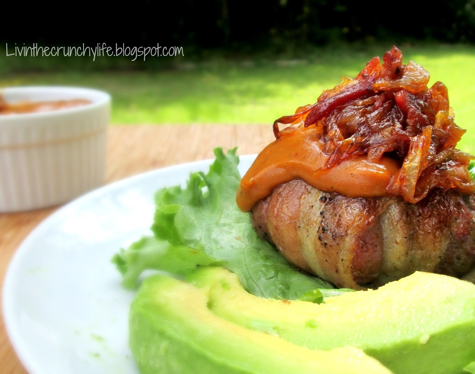 Double Bacon BBQ Burgers with BBQ Avocado Sauce and Caramelized Onions ...