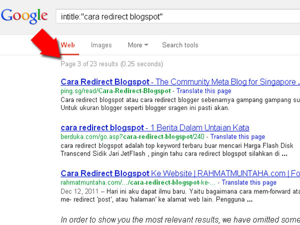 Cara Redirect Blogspot google