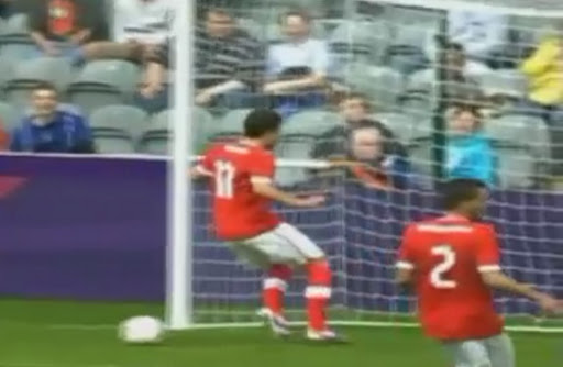 The Ball Behind You: Admir Mehmedi scuffs his shot in front of an open Gabon goal