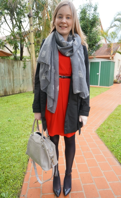 Away From Blue belted red dress heels trench grey scarf and RM bag