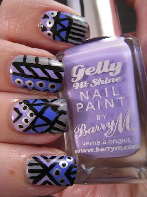 tribal-nails-grey-purple-lilac-black