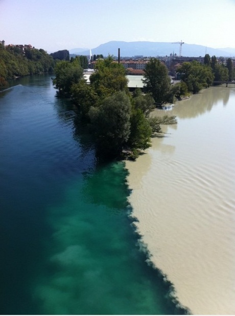 Two River Don't Mix in Geneva, Switzerland