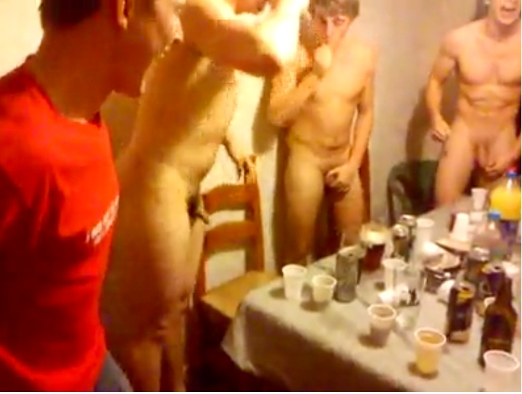 naked drinking guys