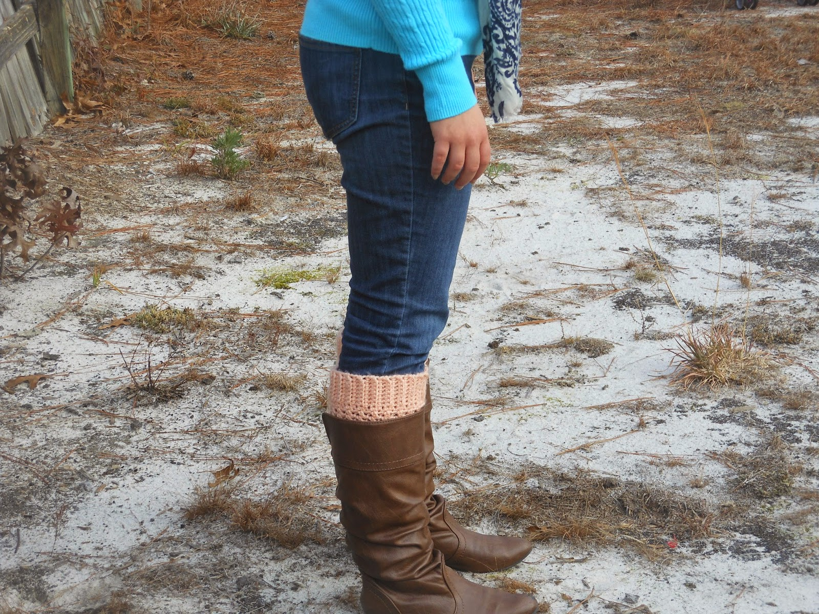Turquoise and Peach. Turquoise sweater, jeans, navy and ivory scarf, peach boot socks, riding boots
