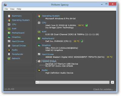 برنامج عرض معلومات النظام Speccy 1.25.674