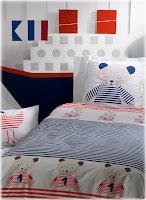 Funda nórdica y juego de sábanas. Catimini. Le Chats de la marine