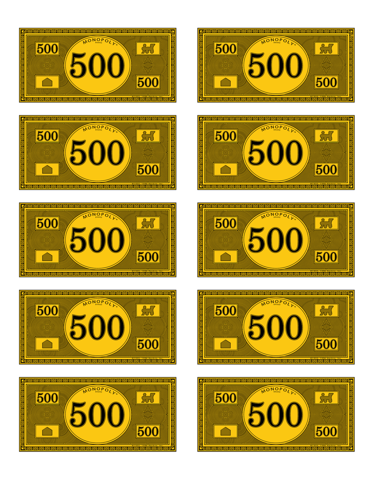Printable Monopoly Money 100