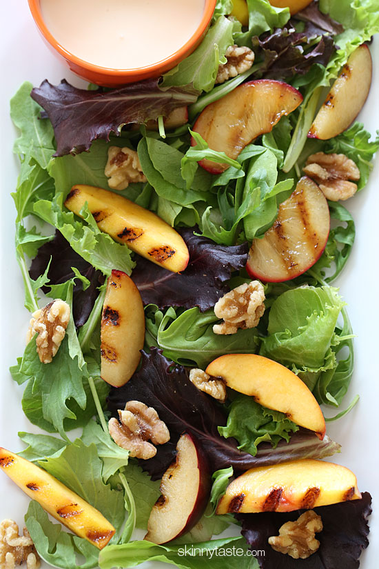 Grilled Stone Fruit Salad with Honey Goat Cheese Dressing ...