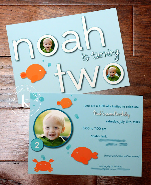 Fish-themed double-sided birthday party photo invitation | kreations by kristy