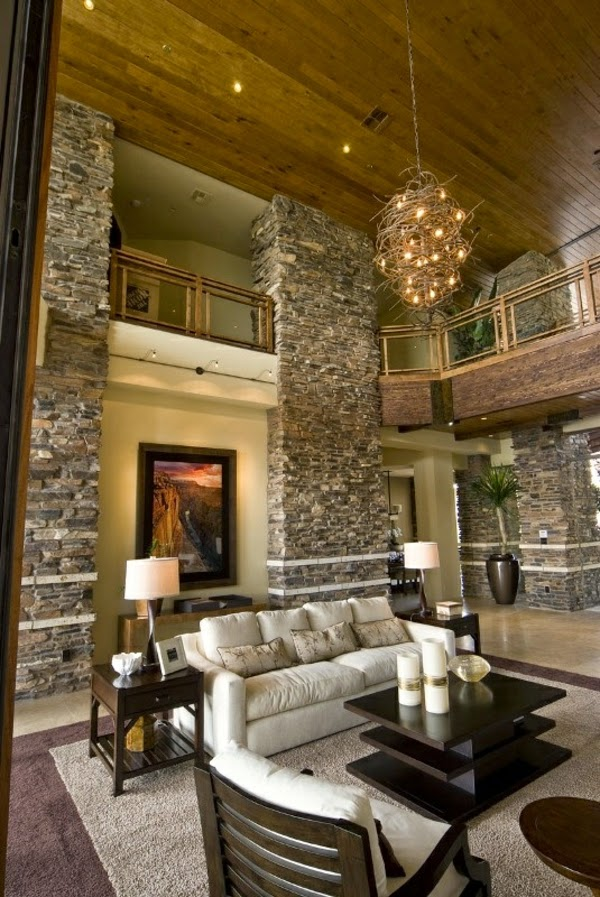 Living room design ideas natural stone wall in the interior for Natural living room design ideas