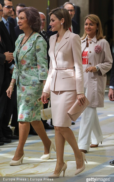 Queen Letizia of Spain and Queen Sofia attend 'Queen Sofia Awards' at El Pardo Palace on April 29, 2015 in Madrid, Spain