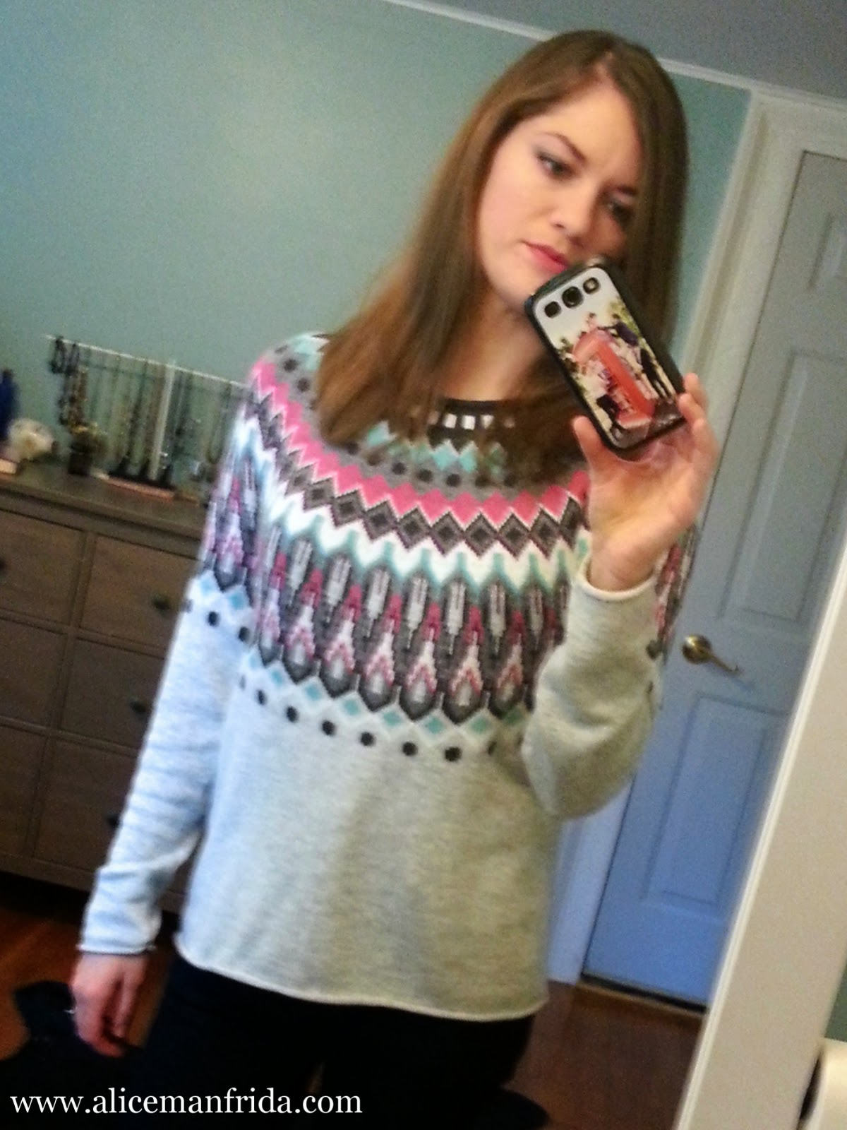 ootd, H&M, jacquard-knit sweater, light gray