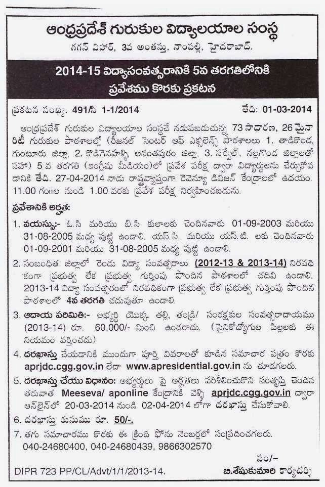 APREIS 5th Class Admission Notification 2014