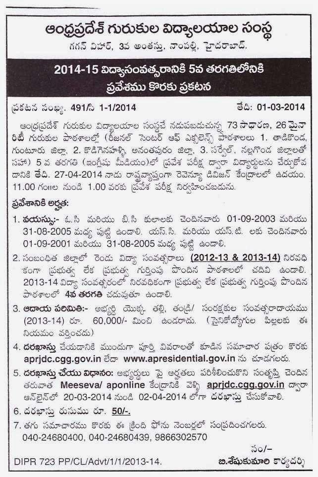 APREIS 5th Class Admission Notification 2014