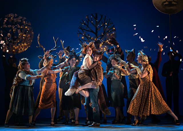 The Cunning Little Vixen – British Youth Opera at the Peacock Theatre. Hazel McBain (Sharp Ears) and Katie Coventry (Golden Mane) with company. Photo: Bill Knight for BYO