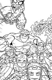 super hero squad coloring page group