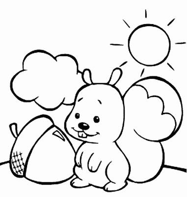 Ardilla bebe comiendo para colorear ~ 4 Dibujo