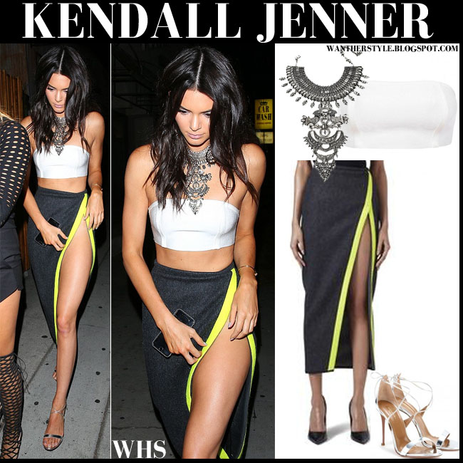 Kendall Jenner in white bandeau top with grey hight slit maxi skirt what she wore august 9
