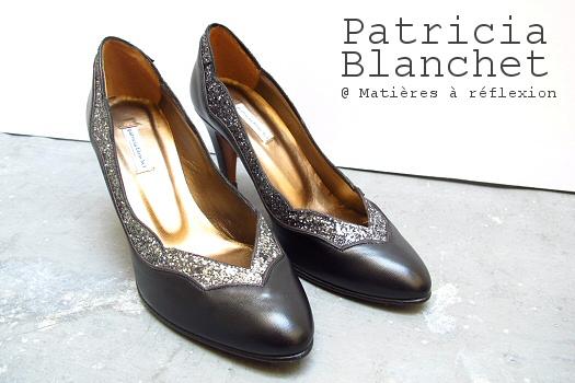 Escarpins cuir noir/pailleté escarpins Patricia Blanchet chaussures Bidiboule