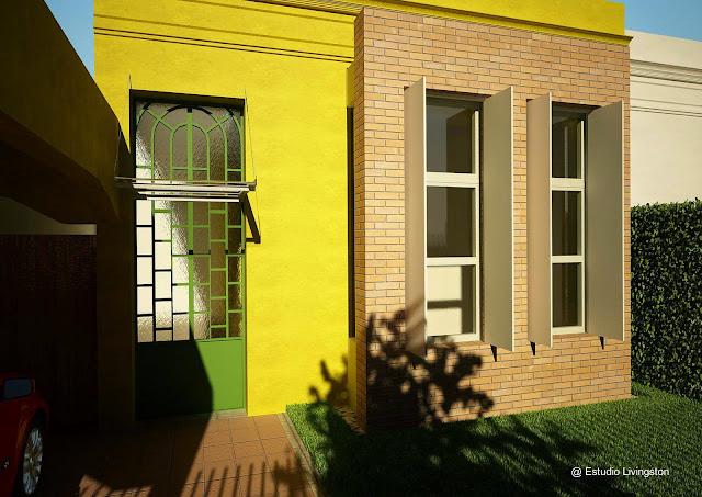 Renderizado del proyecto de reforma de una casa chorizo de Buenos Aires
