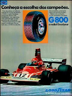 propaganda pneus Good Year G800 - 1976. reclame de carros anos 70. brazilian advertising cars in the 70. os anos 70. história da década de 70; Brazil in the 70s; propaganda carros anos 70; Oswaldo Hernandez;