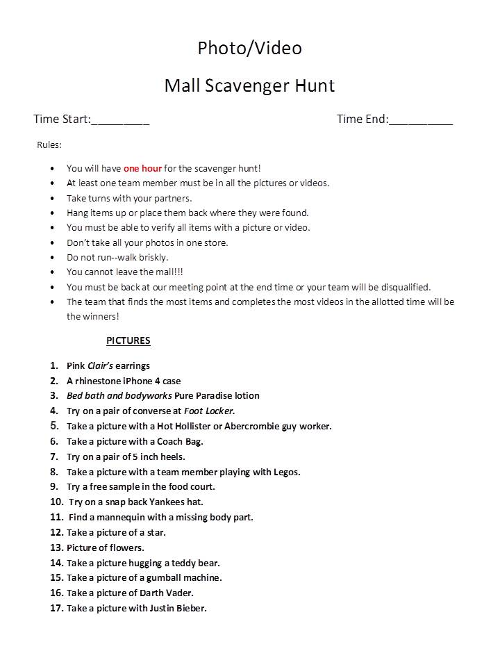 Funny mall scavenger hunt ideas