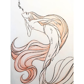 Ink and red colored pencil drawing of a mermaid enchanting the seas with her song