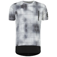 Eclipse Men's Carson Grid Print Zip Longline T-Shirt - White/Black