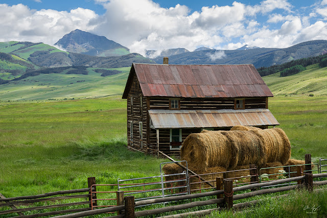Teocalli Mountain with an old Barn along Brush Creek road near Crested Butte, Colorado