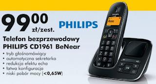 Telefon bezprzewodowy PHILIPS CD1961 BeNear Biedronka ulotka